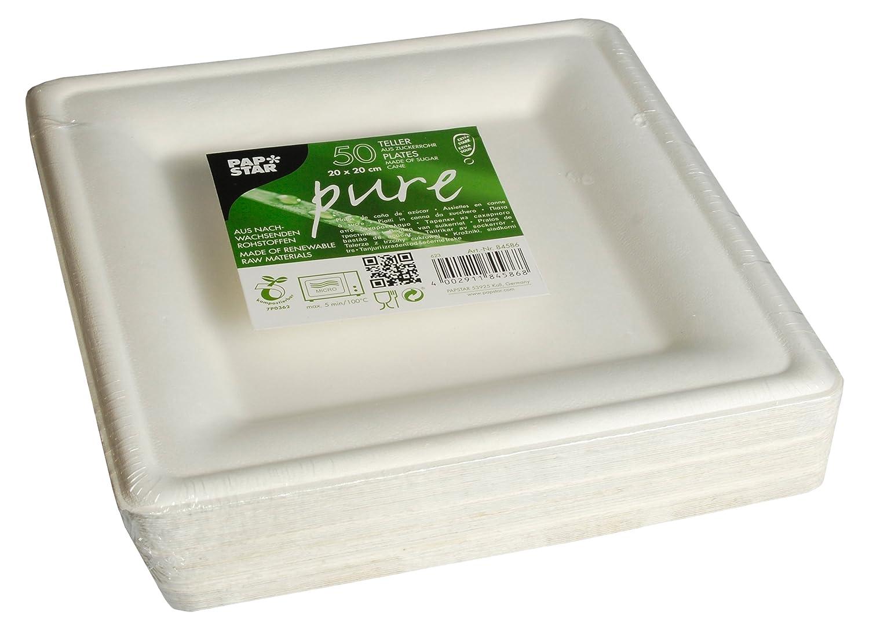 # 84586 convient pour les c/él/ébrations comme /& Anniversaires f/êtes biologique abbaubares jetables en canne /à sucre 20/x 20/cm Lot de 50 Papstar Assiettes en carton//Assiettes jetables Blanc rectangulaire Pure