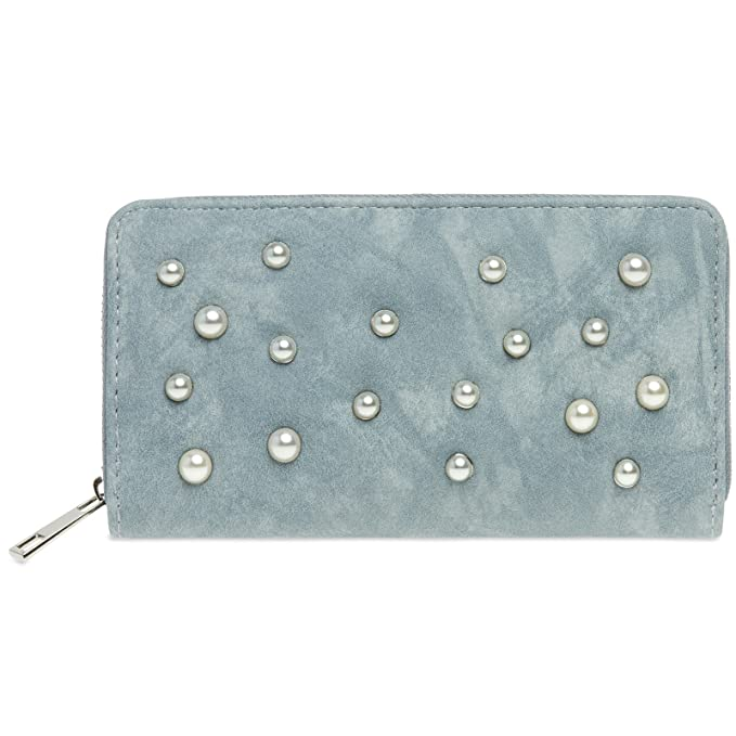 4642ffa77 CASPAR Fashion Gb01012 Long Women Purse Wallet with Zip and Pearl Decor,  Colour: Jeans Blue;Size: One Size: Amazon.in: Clothing & Accessories