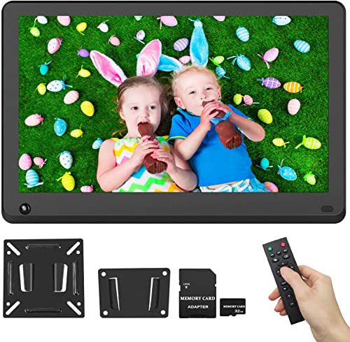 15.6 Inch Digital Picture Frame 1920×1080 IPS Screen 16 9 HD Video Frame Include 32GB SD Card, Photo Auto Rotate, Background Music, Auto Turn On Off, Calendar, Breakpoint Playback, Motion Sensor