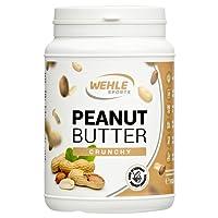 Burro di arachidi senza zucchero senza additivi naturali come burro di arachidi, crema di arachidi sale, olio o olio di palma, Wehle Sports burro di arachidi naturale Peanut Butter 1000g (1kg) (Crunchy (Granuloso))