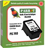 Parrot Refill for Canon PG 740 Ink Cartridge for Pixma (Black)