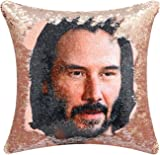 Keanu Reeves Sequin Throw Pillow Cover