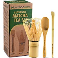 BambooWorx Japanese Tea Set Matcha Whisk (Chasen) Traditional Scoop (Chashaku) Tea Spoon The Perfect Set to Prepare a Traditional Cup of Matcha.