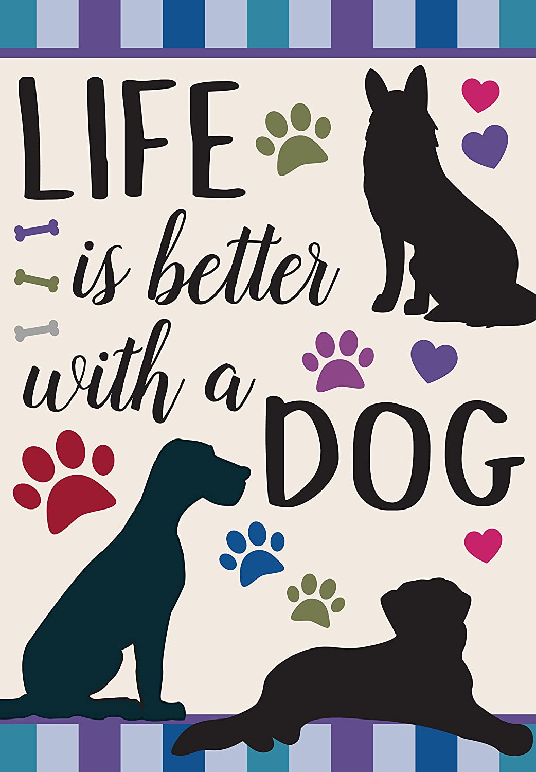 Eastif Life is Better with a Dog Double Sided Garden Flag (Blue)