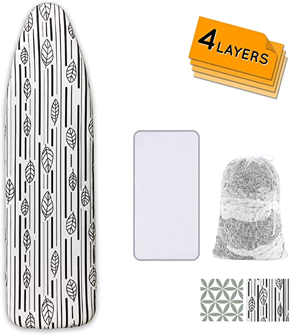 Ironing Board Cover And Pad Extra Thick Heavy Duty Padded 4 Layers Non Stick Scorch And Stain Resistant 15x54 And 3 Fasteners Elastic Edge With 2 Bonus Laundry Bag And Protective Scorch Mesh Cloth Home Kitchen Amazon Com