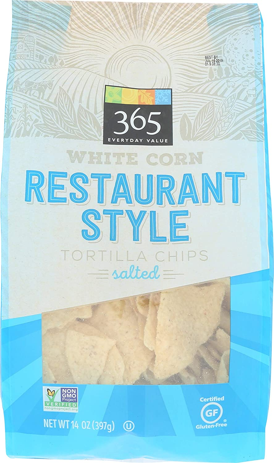 365 Everyday Value White Corn Tortilla Chips Restaurant Style Salted 14 Oz