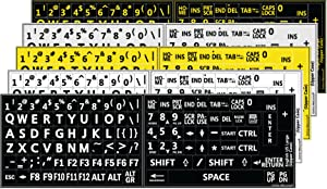 Five 5 English US Large Print Lettering Black,Yellow, White, Gray BACKGROUNS Keyboard Stickers 5 Colors