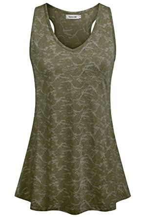 20062a4b149 Tencole Tank Top Racerback Women Tunic Tops for Women with Floral Sleeves  Tunics Short Sleeve for