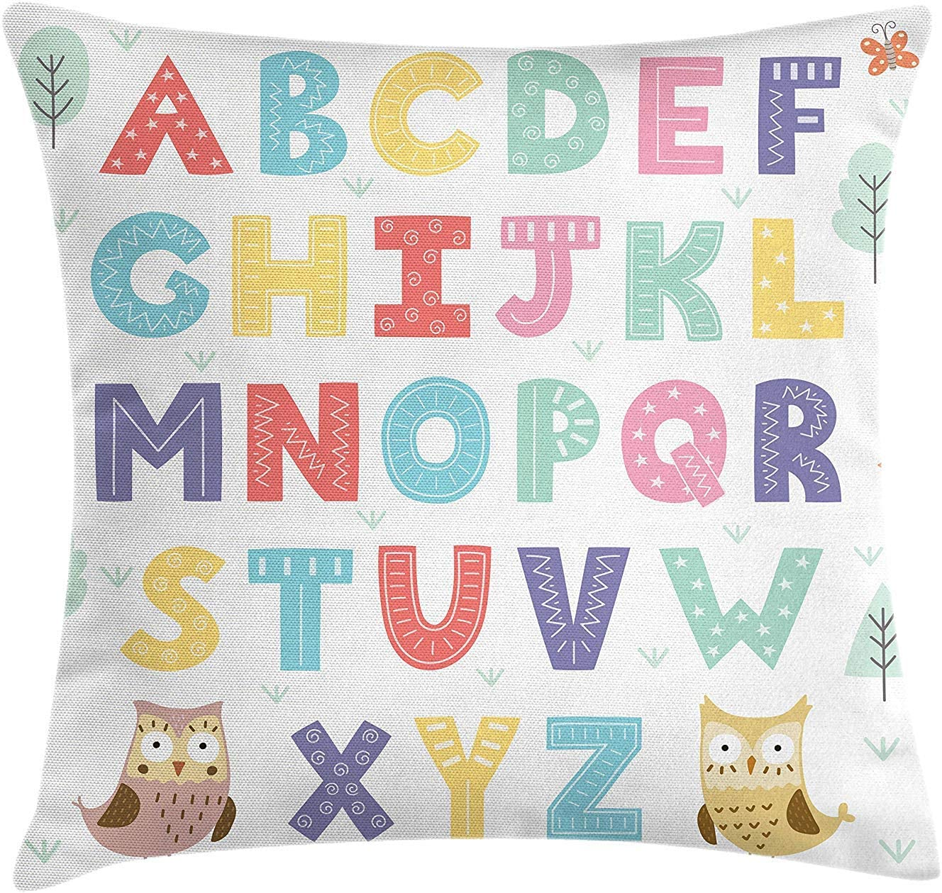 JIMSTRES ABC Kids Throw Pillow Cushion
