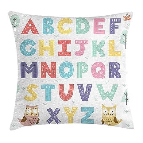 KAKICS ABC Kids Throw Pillow Cushion Cover, Alphabet Set of ...
