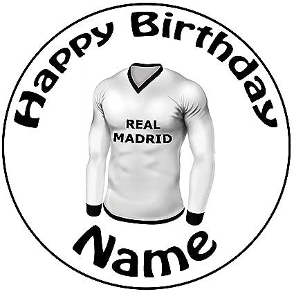 """Personalizado REAL MADRID camiseta de fútbol decoración para tarta para – una precortado redondo 8 """""""