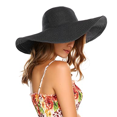 ec2d89871e03a Zeagoo Women Wide Large Brim Sun Hats Derby Cap Beach Straw Hat Black