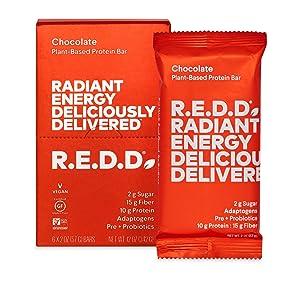 R.E.D.D. Bar, Vegan Protein Bar, Low Sugar & Gluten-Free, Chocolate, 12 Bars