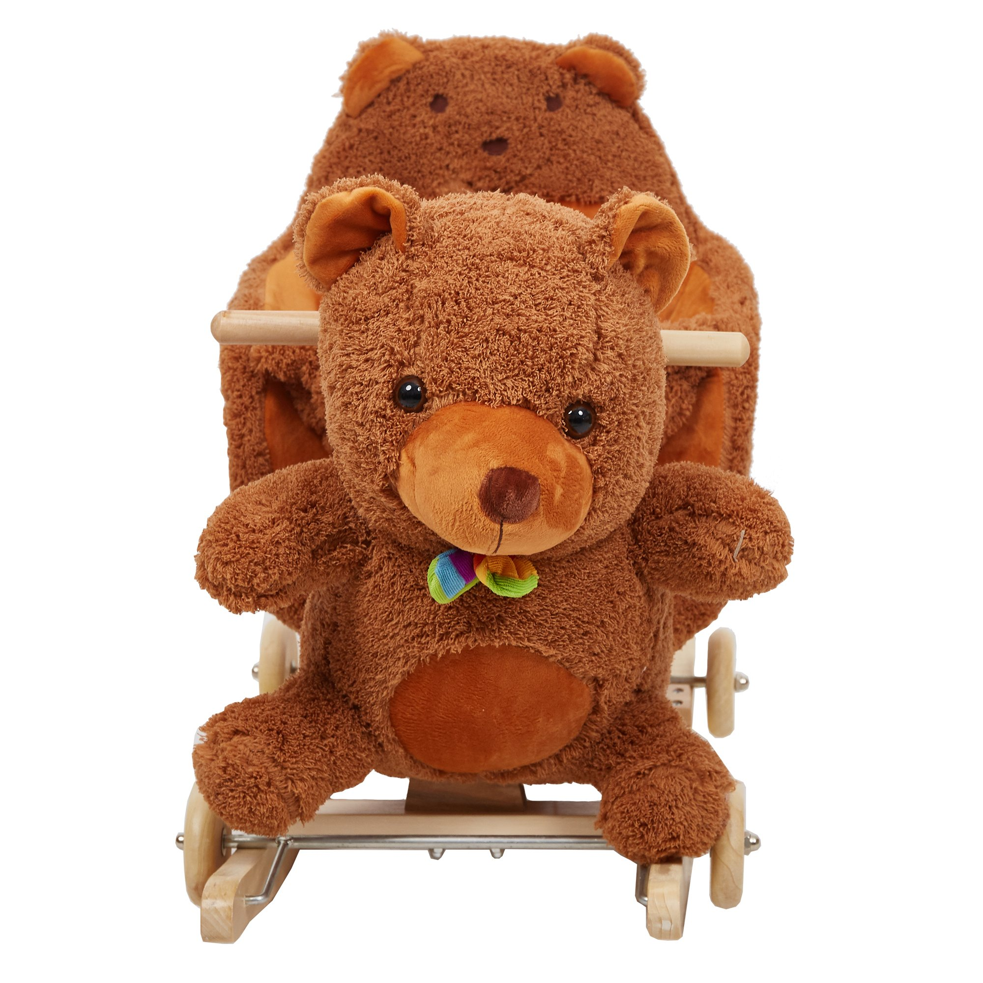 Lucky Tree Rocking Horse Wooden Riding Toys Plush Brown Bear Ride on Toy with Wheels for kids 18 Months-4 Years,Bear by Lucky Tree (Image #1)