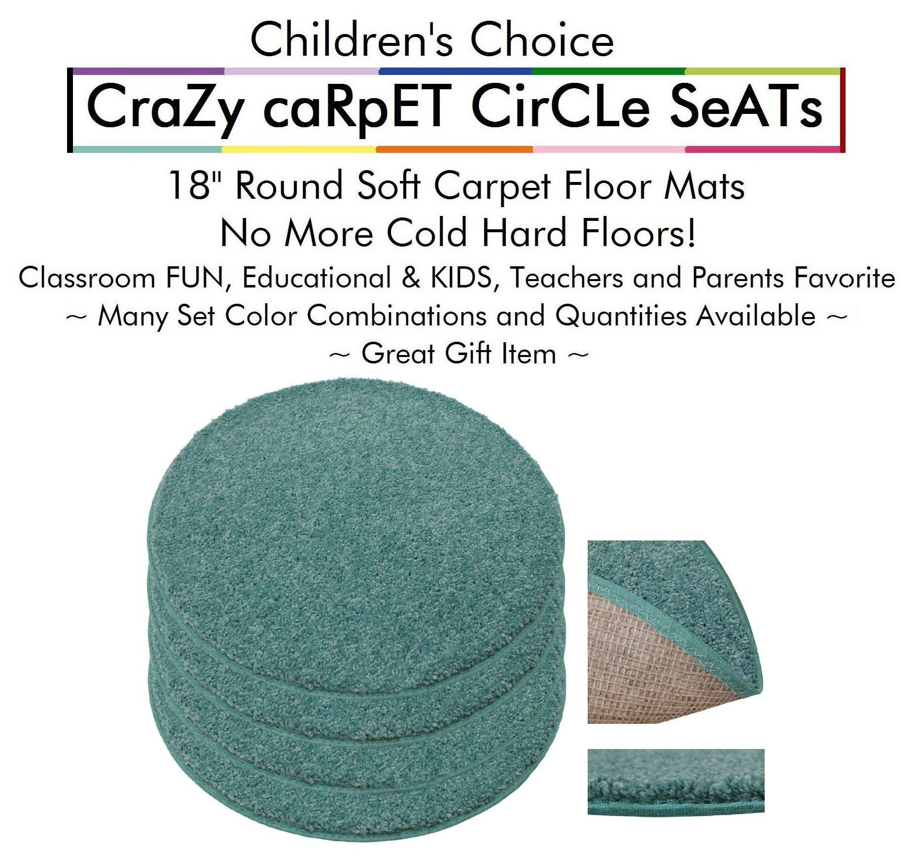 """Set 4 - Surfer Dude Kids CraZy CarPet CirCle SeaTs 18"""" Round Soft Warm Floor Mat - Cushions 