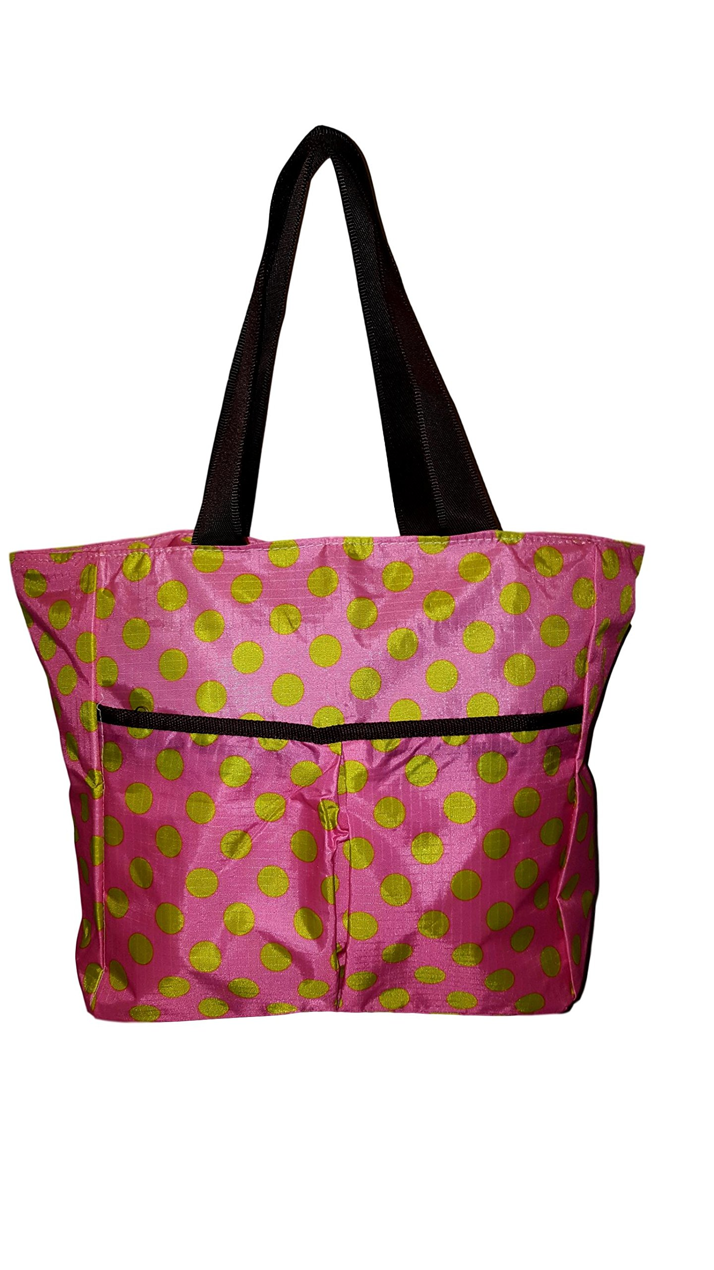 Fashion Print Small Nylon Zipper Top Tote Bag (Pink w/ Green Dot - Embroidered Name)