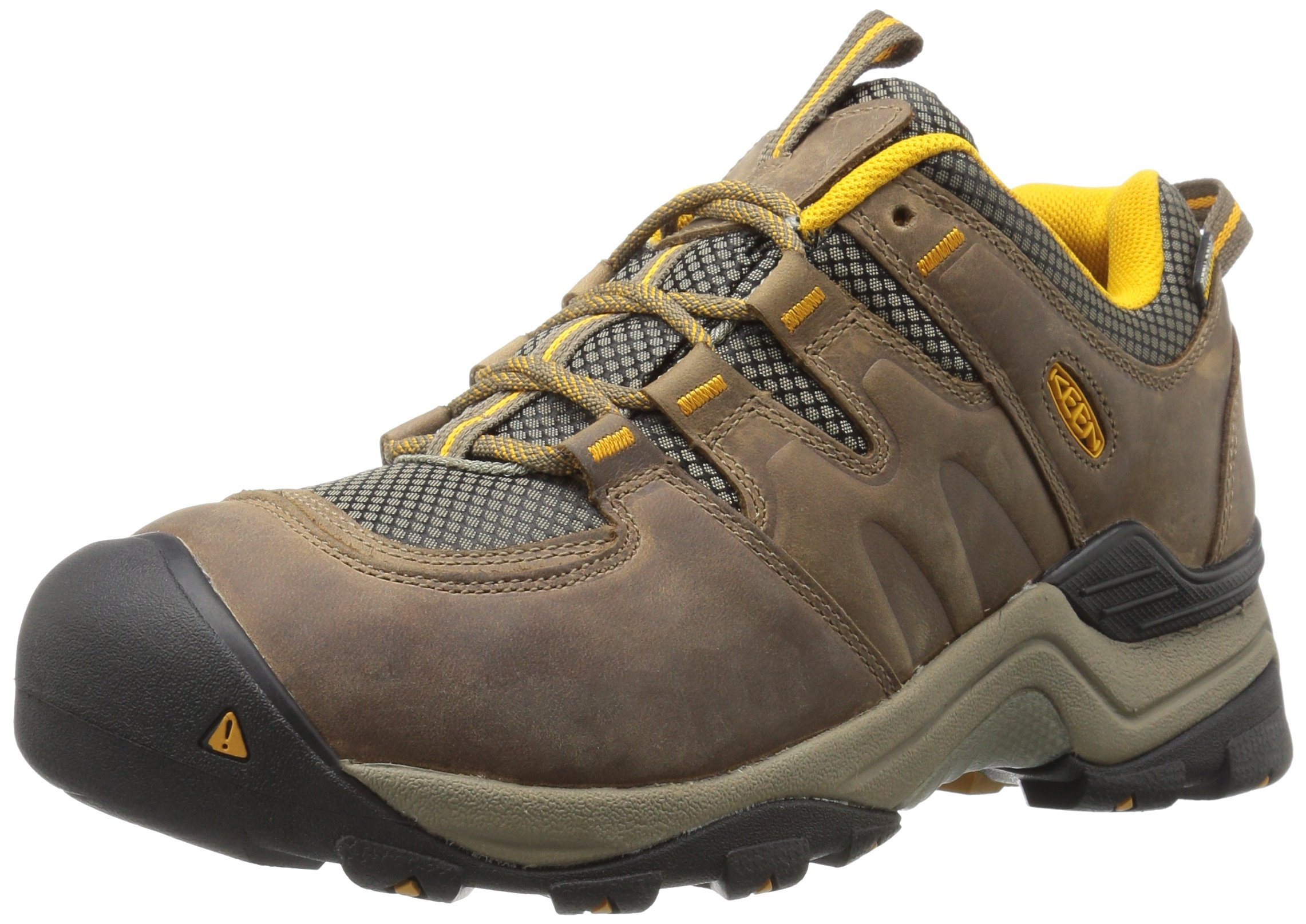 KEEN Men's Gypsum Ii Waterproof Backpacking Boot, Shiitake/Golden Yellow, 9.5 M US