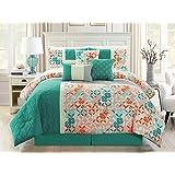 7-Pc Patchwork Floral Medallion Leaves Embossed Comforter Set Teal Gray Orange White Queen