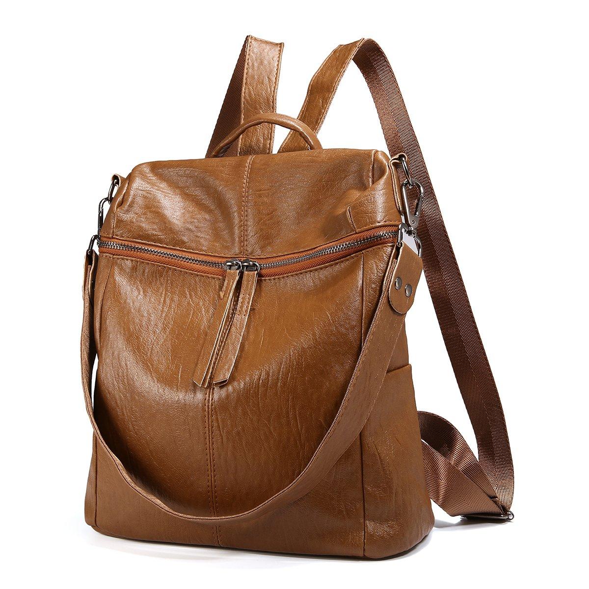 JOSEKO Fashion Backpack, Women Purse Soft PU Leather Ladies Rucksack Shoulder Bag Handbag Brown 11.8''x 11.02''x 5.9''(LxWxH)