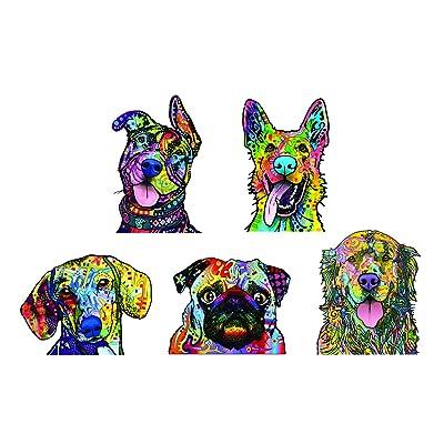 Enjoy It Dean Russo Dog Car Sticker Set - 5 Pack (Pit Bull, German Shepherd, Dachshund, Pug, Golden Retriever): Automotive
