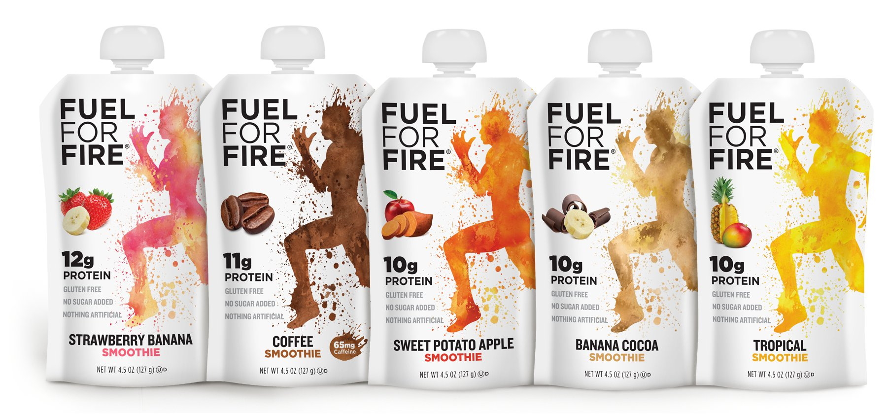 Fuel For Fire - Fruit & Protein Smoothie Squeeze Pouch 4.5 oz - 9 Ingredients - Perfect for Workouts, Kids, Snacking - Gluten-Free, Soy-Free, Kosher, No Added Sugar (Variety Pack, 10-Pack)
