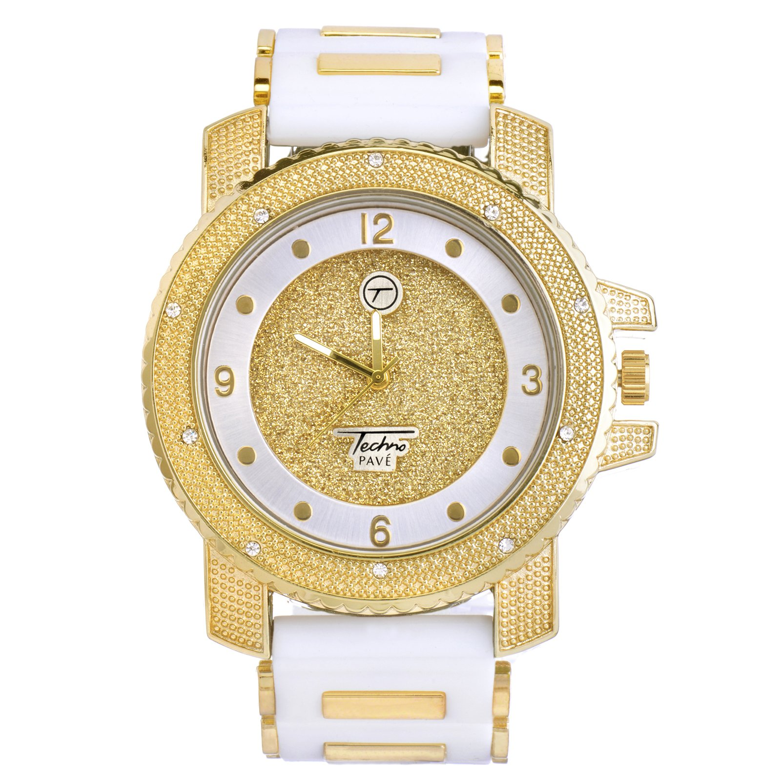 METALTREE98 Men's Fashion Hip Hop Analog Iced Out Heavy White Silicone Band Watch WR 7758 (Gold Toned) by METALTREE98 (Image #1)