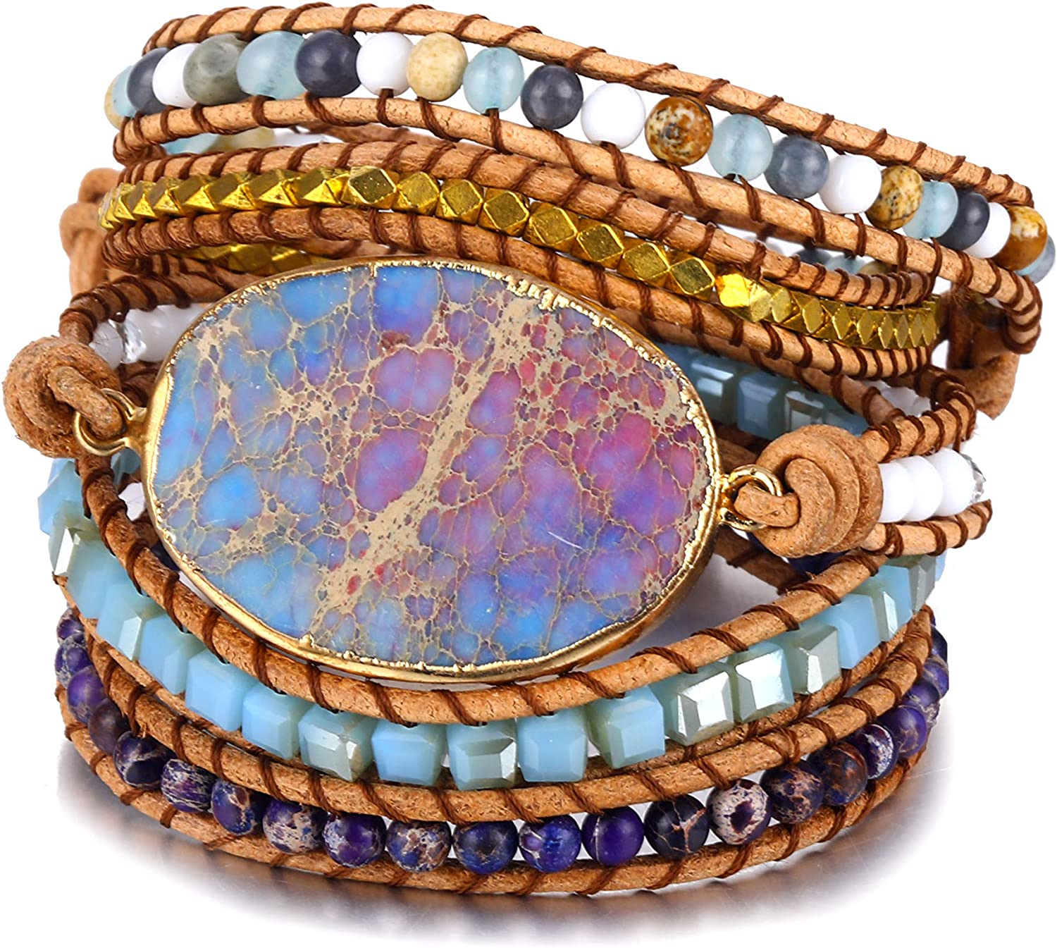 Gold stainless steel bracelet gilded hematite beads and stone colori of your choice