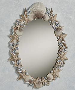 Touch of Class at The Beach Seashell Wall Mirror Blue 18 x 26 Inches