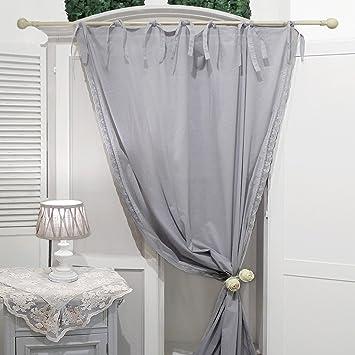AT17 Rideau, Décoration de Fenêtre, Rideau pour Le Salon Shabby Chic et  Romantique - Crochet - 130x290 - Gris - 100% Voile de Coton