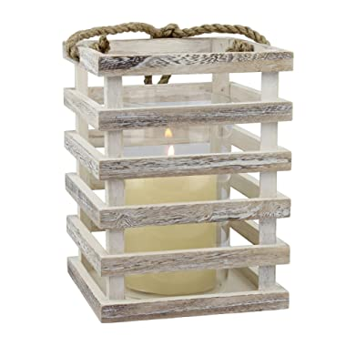 Stonebriar Worn White Wooden Beach House Candle Lantern, Use as Party Decorations or a Coastal Inspired Centerpiece for Weddings, Indoor or Outdoor Use, Medium