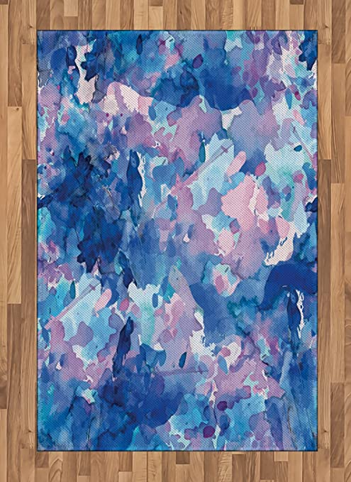 Amazon Com Lunarable Abstract Area Rug Watercolor Drawing Of Vivid Colors Abstract Expression Flat Woven Accent Rug For Living Room Bedroom Dining Room 4 X 5 7 Navy Blue Magenta Baby Blue Kitchen