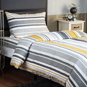 XLNT Premium Twin Size Bed Sheet Duvet Cover, 3 Piece Set, 39 Inch, Cotton Blend, Super Soft, Deep Pockets, Machine Washable, Great for Boys, Girls Or Guest Room, Riptide Yellow Design