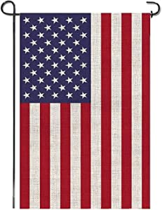 AHAHM American Garden Flag, Double Sided, 12.5 x 18 Inches, Weatherproof Heavy Burlap USA Yard Flag