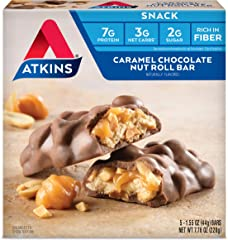 Atkins Snack Bar, Caramel Chocolate Nut Roll, Keto Friendly, 1.55 Ounce, 5 count