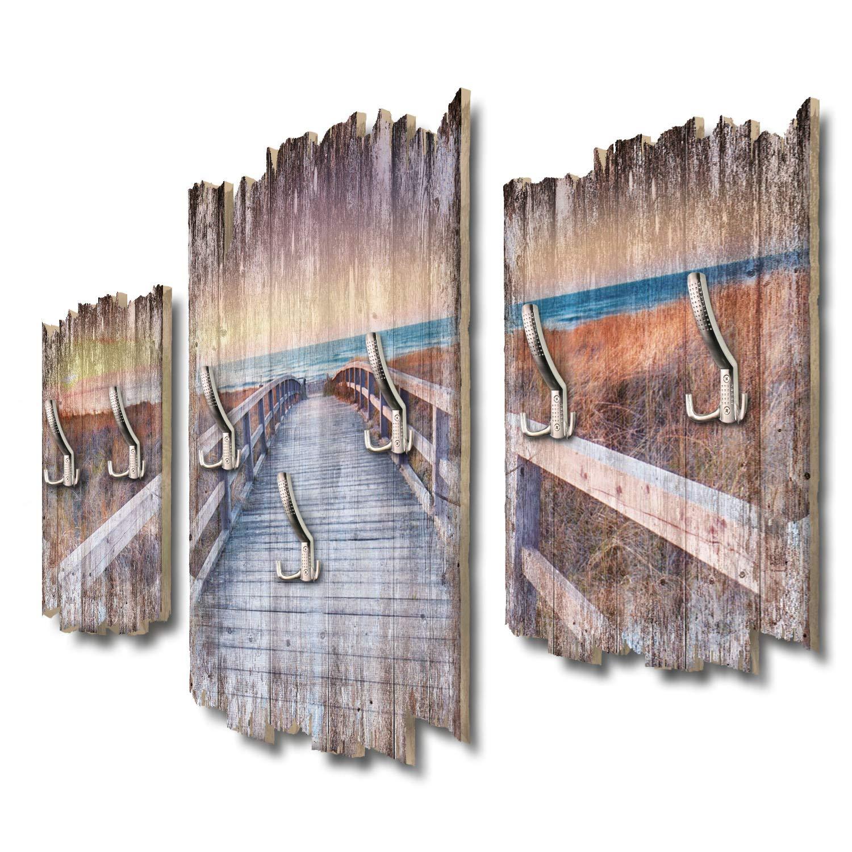 Kreative Feder Steg zum Strand Designer Wandgarderobe Flurgarderobe Wandpaneele 95 x 60 cm aus MDF DTGH096
