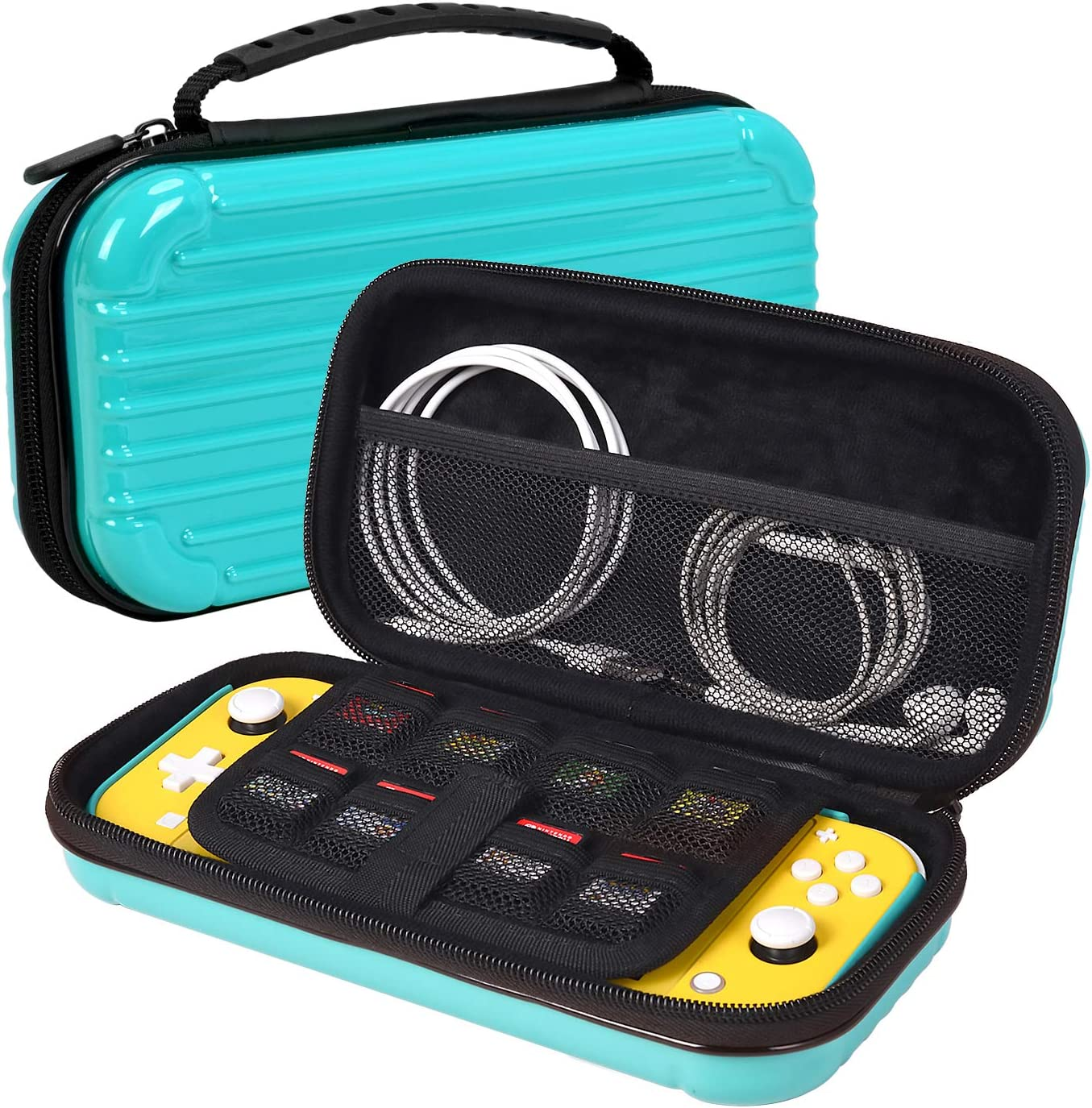 iHosok Carrying case for Nintendo Switch lite Console - Portable Travel Hard Shell Protective case with 8 Game Card Slots & Storage for Accessories-Turquoise