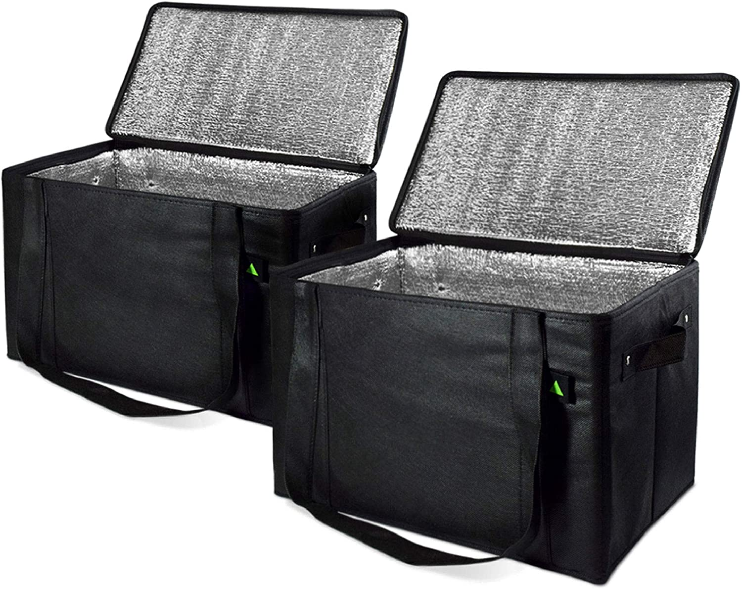 """Reusable Insulated Grocery Box Bags, Rigid & Collapsible With Handles And Zippered Top, Insulated Cooler Bags, Reusable Grocery Shopping Bags, Thermal Bags 2 Pcs. 14.5x10x10"""""""