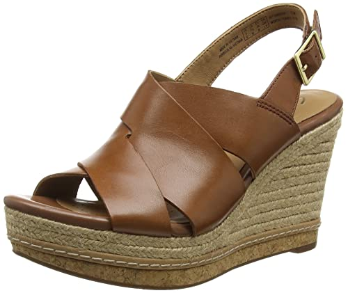 Clarks Amalia Womens Dark Brown Leather Slip On Heel Sandals