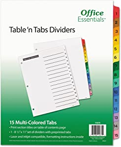Office Essentials 11675 Table 'n Tabs Dividers, 15-Tab, Letter