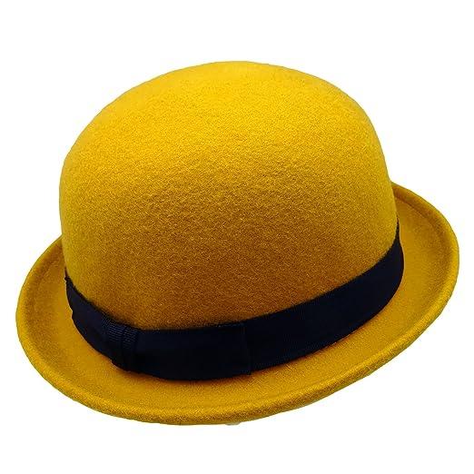 HATsanity Unisex Fashion Wool Felt Soft Bowler Hat Amber at Amazon ... 85c3a993013