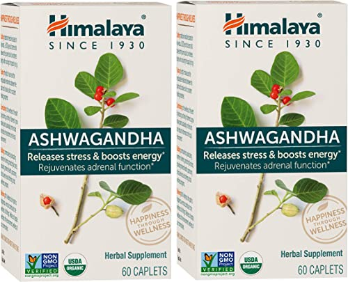 Himalaya Organic Ashwagandha 670 mg 60 Caplets , Equivalent to 4630mg of Ashwagandha Root Powder, 4 Month Supply of Supplements for Anxiety Relief and Stress Relief 2 Pack