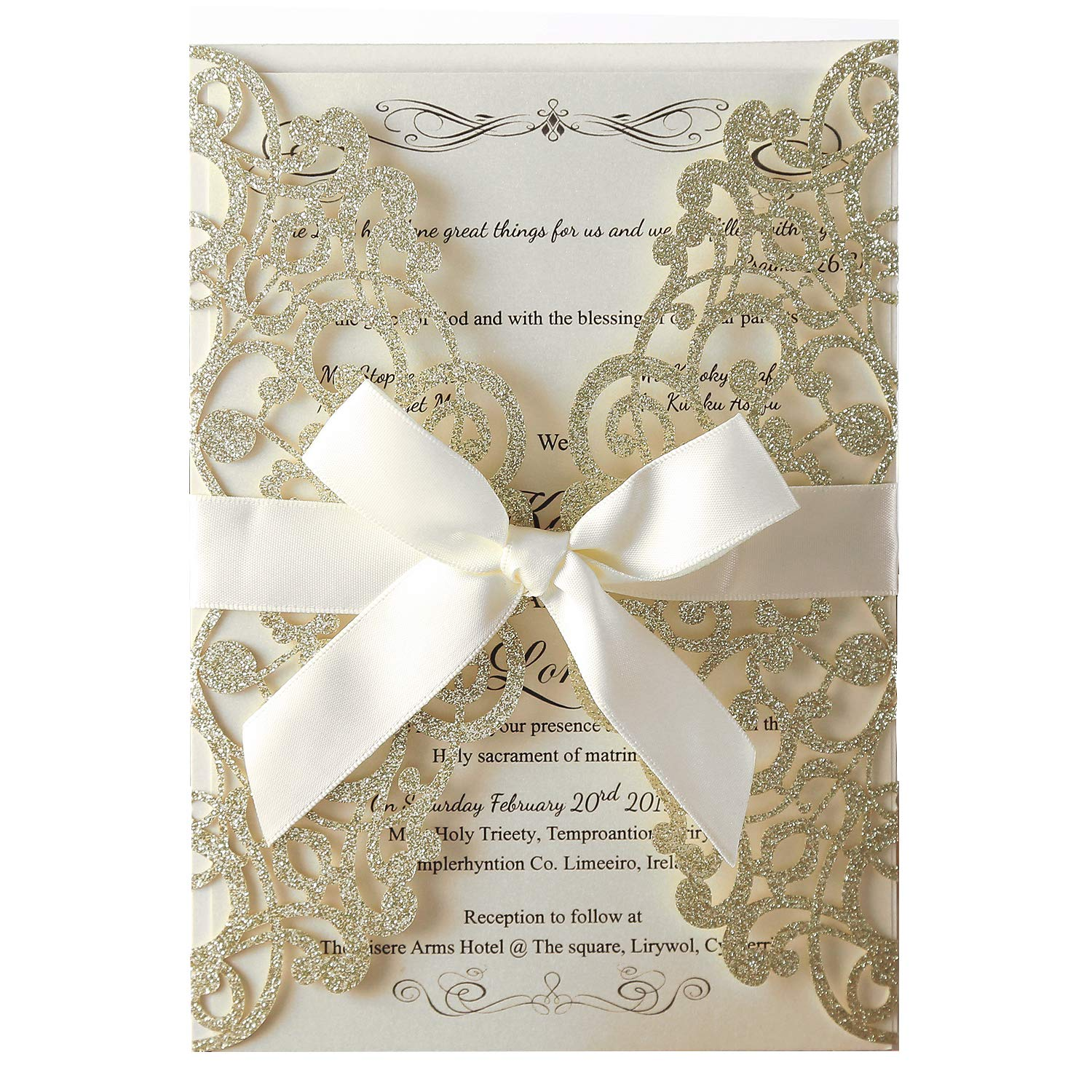 Hosmsua 20x Laser Cut Flora Lace Invitation Cards with Blank Inner Sheets and Envelopes for Wedding Invitations Bridal Shower Engagement Birthday Baby Shower (Champagne Glitter)