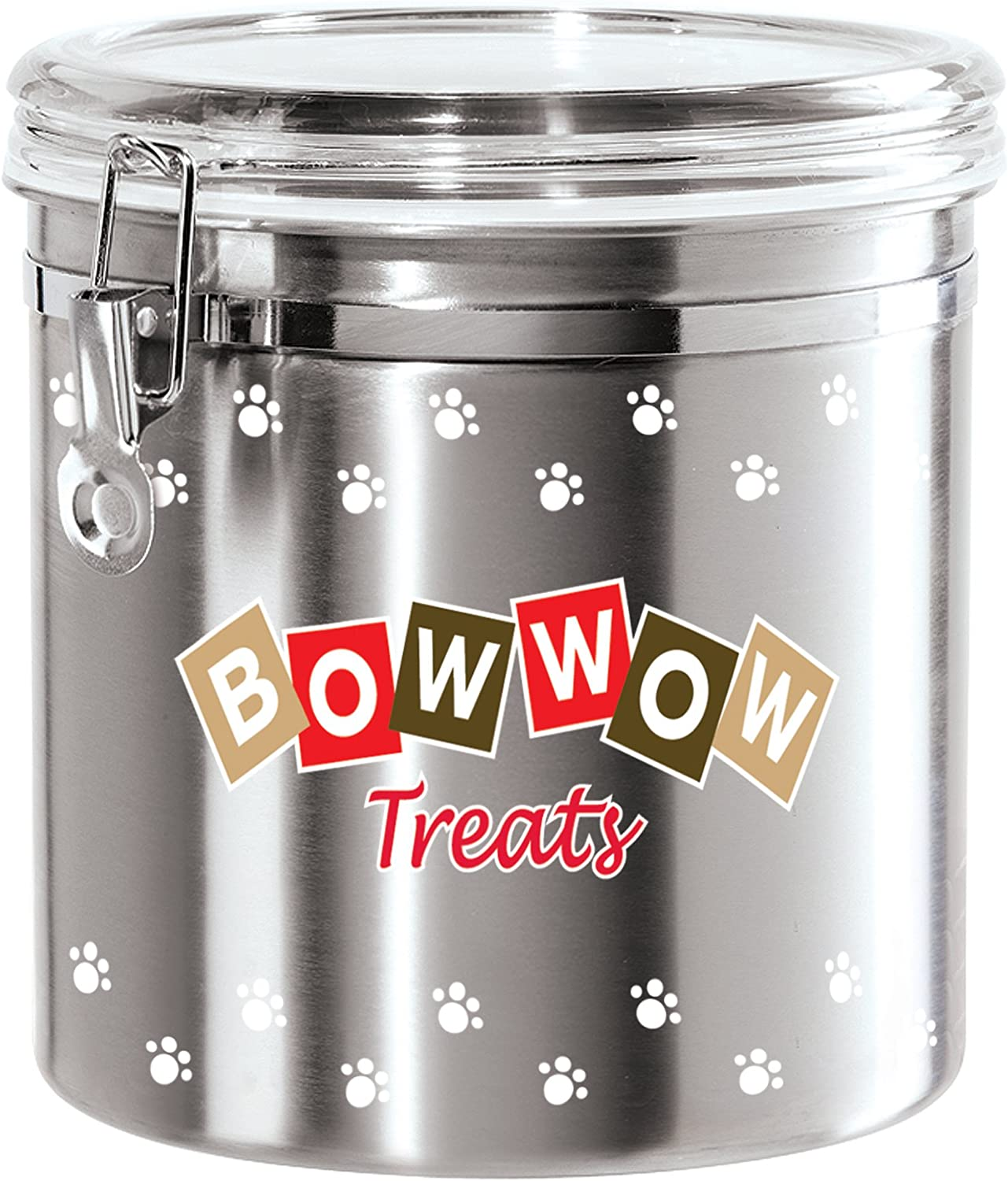 Oggi Jumbo Airtight Stainless Steel Pet Treat Canister with Bow Wow Motif-Clear Acrylic Flip-Top Lid and Locking Clamp Closure, 130 oz, Silver