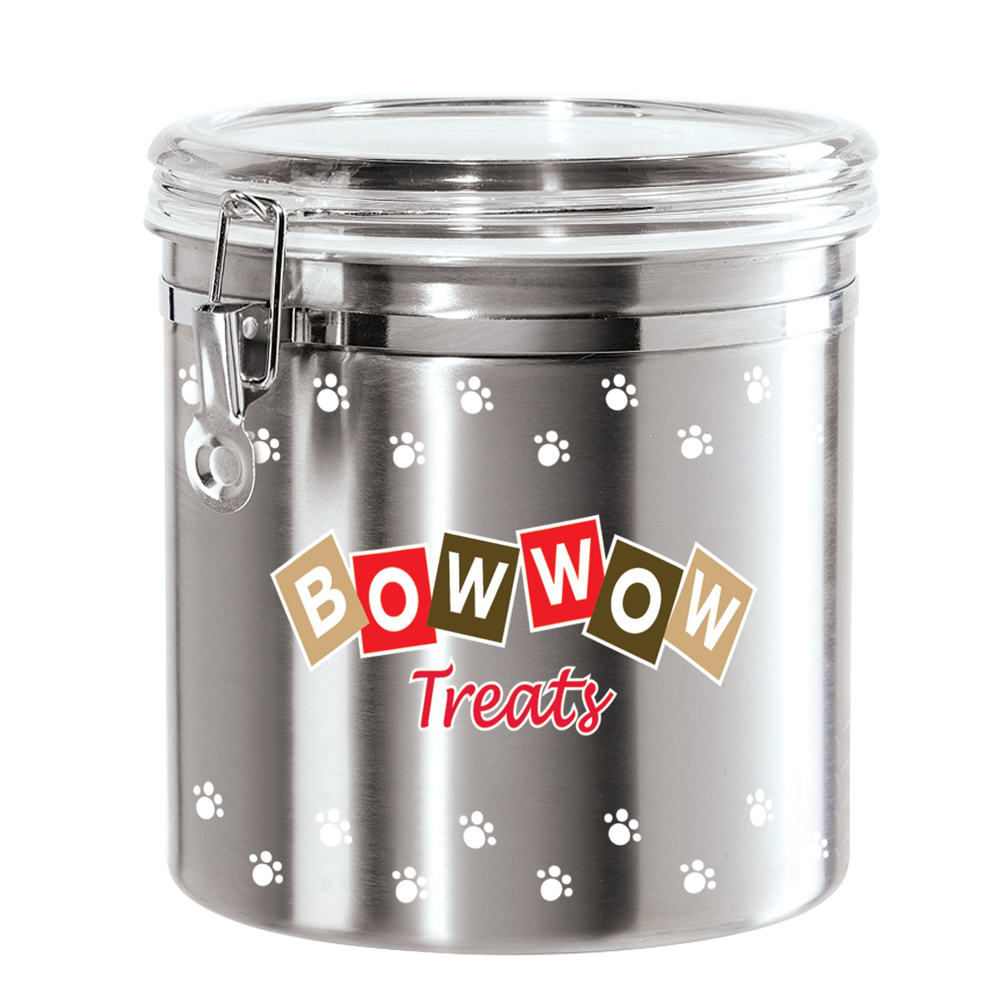 Oggi 8314 Jumbo Airtight Stainless Steel Pet Treat Canister with Bow Wow Motif-Clear Acrylic Flip-Top Lid and Locking Clamp Closure, 130 oz, Silver