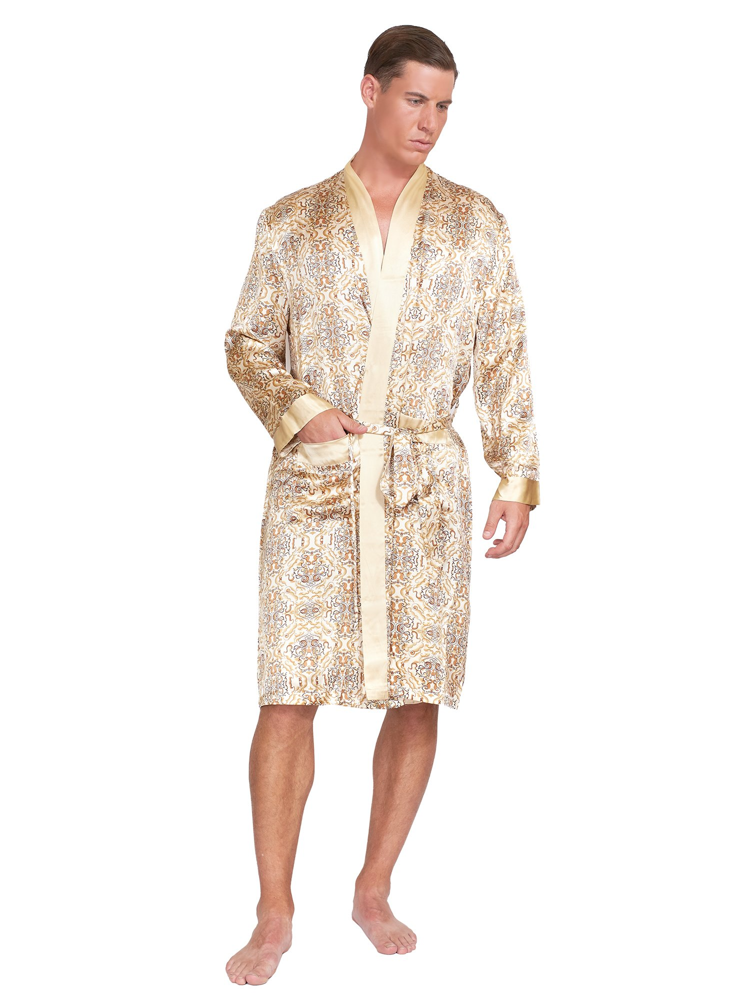 MYK Mens Paisley Printed Silk Robes - With Gift Box (M, Gold)