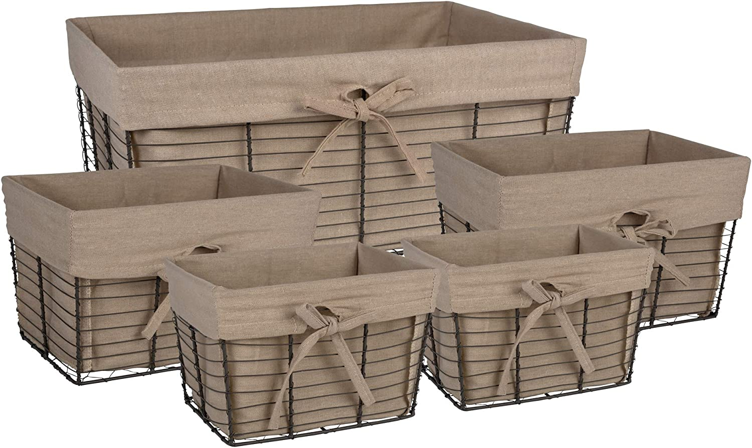 DII Vintage Grey Wire Baskets for Storage Removable Fabric Liner, Assorted Set of 5, Taupe, 5 Piece