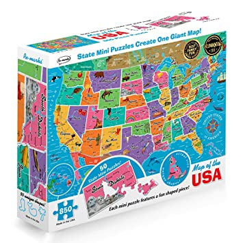 Worksheet. Amazoncom Remarks Map of the USA 850 Piece Puzzle with Mini