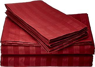 Cuente 1500 tema raya Con calidad egipcia 4 piezas Resistente a las arrugas lujoso juego de sábanas, reina