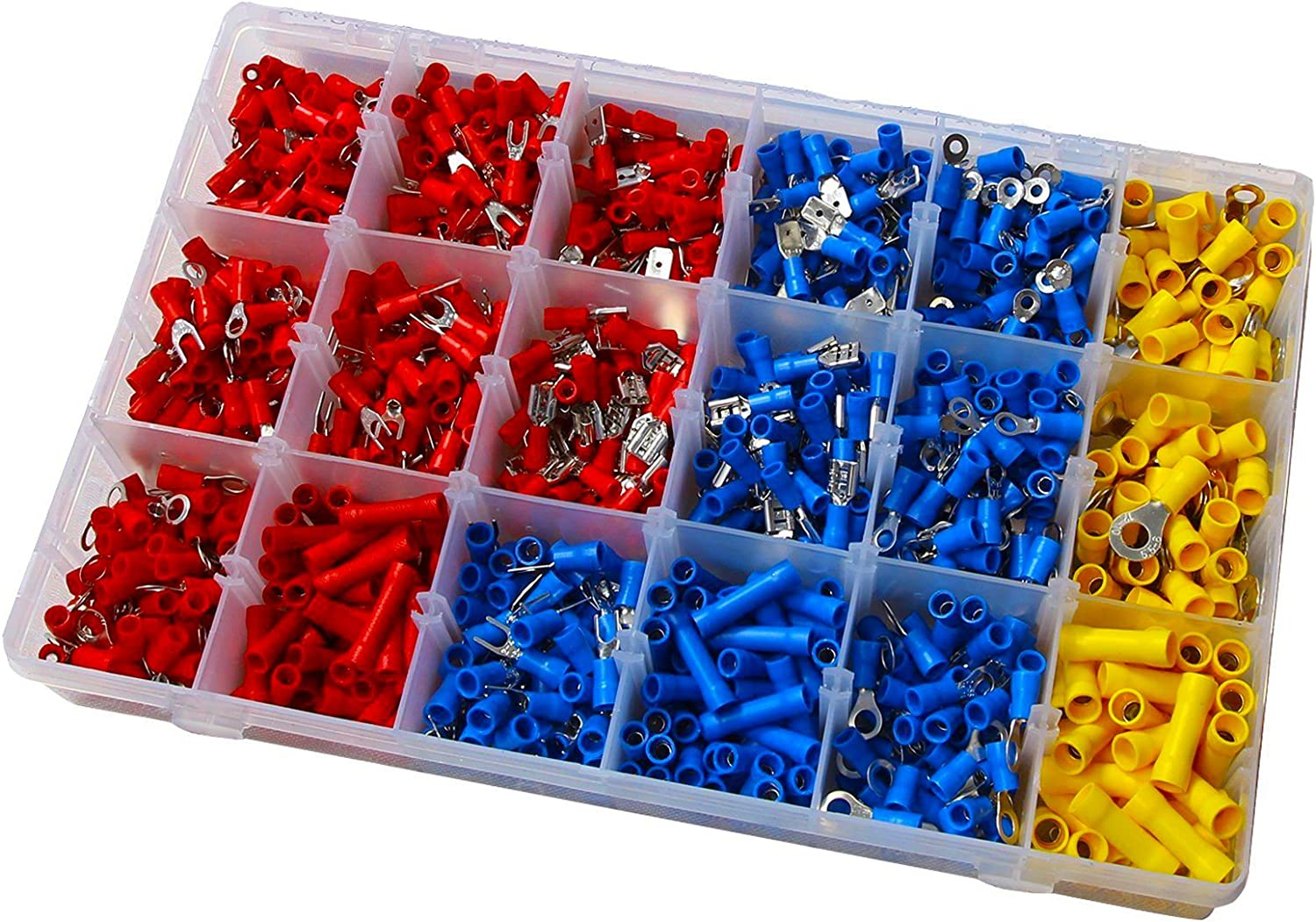 1200pcs Insulated Assorted Electrical Wiring Wire Connectors Set Crimp Automotive Terminals Mixed Assorted Lug Kit