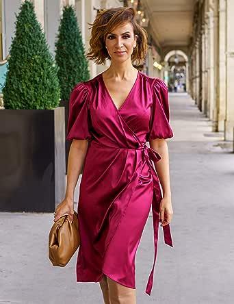 The Drop Vestido para Mujer Midi Cruzado, Borgoña, por @sabthefrenchway